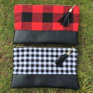 Handbags - Buffalo Check Makeup Bag Set of 2 Tassel NEW
